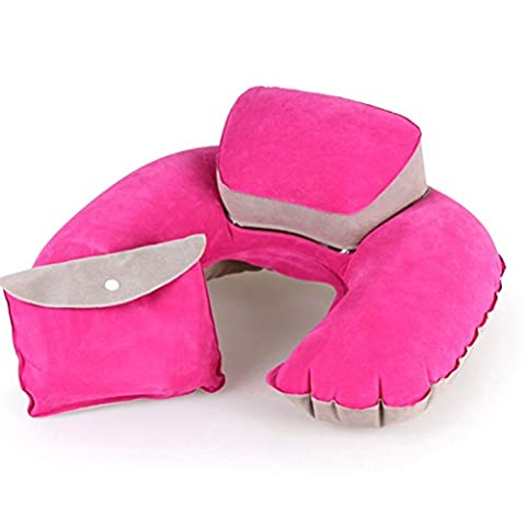 Contever® Rose Rouge '' U '' forme Oreiller de voyage Gonflable avec Confort Rehausseur de Tête (1x Stockage sac inclus)