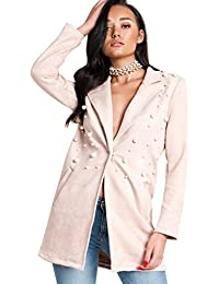 Ikrush Womens Aerin Faux Suede Long-Lined Embellished Jacket