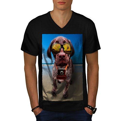 hund-welpe-reise-leben-kamera-spa-herren-neu-schwarz-m-t-shirt-wellcoda