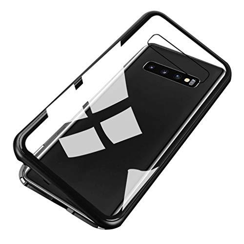 Mumuj Schutzhülle für Samsung S10 6,1 Zoll Metallrahmen Magnetische Adsorption Handyhülle mit eingebautem Magnetklappdeckel, Transparente Gehärtetes Glas Back Cover (Schwarz) Back Cover Blende