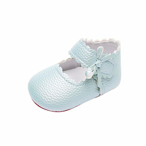 Voberry Children Fashion Baby Toddler Newborn Girls Boys Soft Sole Wave Bowknot Shoes Solid Baby Casual Buckle Strap Shoes for 0-18 Months