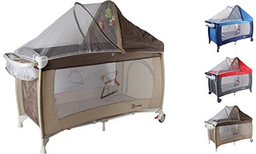 Clamaro \'Dream Traveler\' Kinder Baby Reisebett (6 Farben) zusammenklappbar, höhenverstellbar, Kinderreisebett mit Einhang, Faltmatratze (2cm dick), Moskitonetz, Wickelauflage - Farbe: braun beige