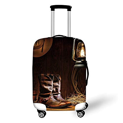 Travel Luggage Cover Suitcase Protector,Western,Authentic Western Riding Tools Shoes in Vintage Ranch Barn with Nostalgic Lantern Print Decorative,Brown,for Travel S -