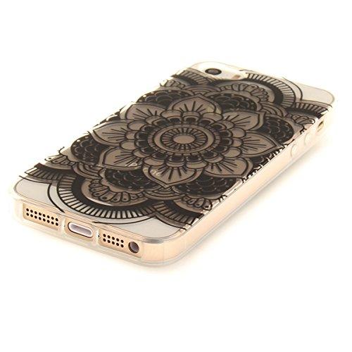 Etsue iPhone 6S Plus Cover Trasparente,Custodia iPhone 6 Plus Tpu UltraSottile, Carina Lovely Colorito Amore Cuore Modello,Slim Soft Gel Protective Case Silicone Clear Cover Morbida Flessible Gomma Ch Nera Fiori3