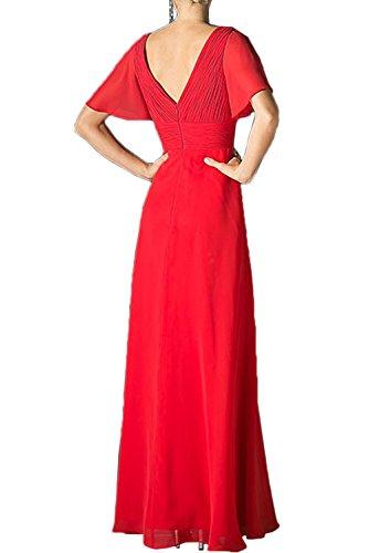 Sunvary Damen V-Neck Chiffon Kurzarm Blumen Abendkleider Lang Ballkleider  Partykleid Rot ...