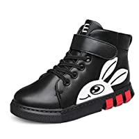 Boys and Girls high-top Sneakers Autumn and Winter Comfortable Leather Plus Velvet Warm Non-Slip Flat wear-Resistant Cute Rabbit Princess Casual Wild Shoes