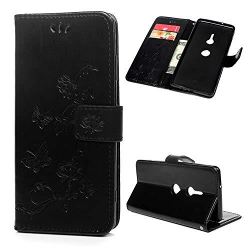 Edauto Hülle Kompatibel für Sony Xperia XZ3 Leder Case Schutzhülle Wallet Flipcase Lotus Schmetterling PU Handyhülle Handytasche Karteneinschub Magnetverschluß Ständer Klapptasche Tasche Schwarz