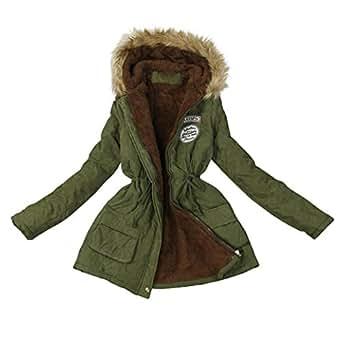 Clode® Women Coat, Womens Winter Keep Warm Long Coat Collar Hooded Jacket Parka Outwear (S, Army Green)