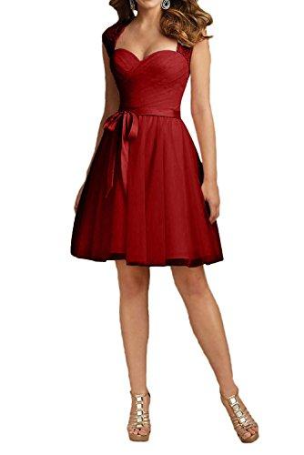 Charmant Damen Dunkel Rot Spitze Brautjungfernkleider Promkleider  Cocktailkleider Mini Prinzess A-Linie Rock -36 Dunkel Rot 354a4c7ef6
