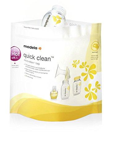 Medela Quick-Clean Mikrowellenbeutel, Sterilisator für Babyflaschen, Sauger und Stillzubehör in der Mikrowelle, bis zu 20 Mal verwendbar, 5 Stück