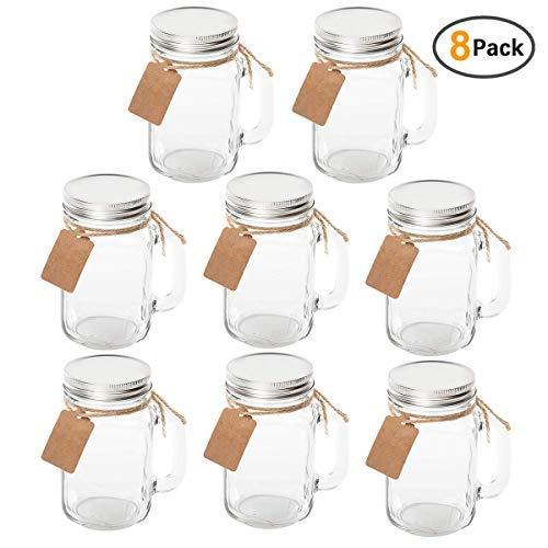 maredash 8pack-classic Mason Gläser mit Griff und Deckel, Trinken Becher mit Tafel Etiketten und Deckel, Gläsern 16Oz für, Gastgeschenken klar 8 weiß (Gläser Griffen Großen Mason Mit)