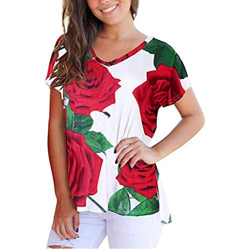 Produp Frauen Solides, Lockeres, Kurzärmliges T-Shirt Mit V-Ausschnitt, Oberseite Geteilt Hoher Niedriger Saum