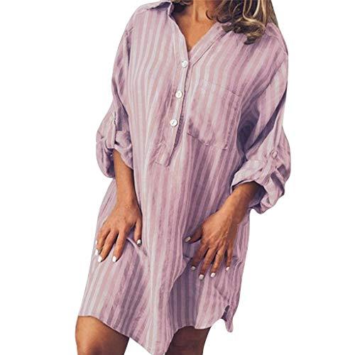 Sommer Damen gestreiften bedruckten Hemd Damen V-Ausschnitt Mode gestreiften Print Hemdkleid Sommer Elegante Taste langärmelige Tasche Hemdkleid lässig kurzärmelige V-Ausschnitt Kleid Strand Rock Print Jersey Knot Dress