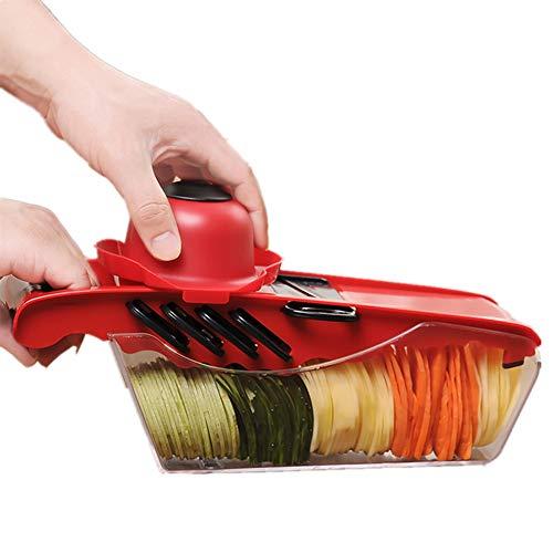 JUNJP 5-in-1-Multifunktionsschneidemaschine, einstellbare Schneidemaschine, geeignet für geschnittene Lebensmittel, Obst- und Gemüsespäne, Kartoffelspäne