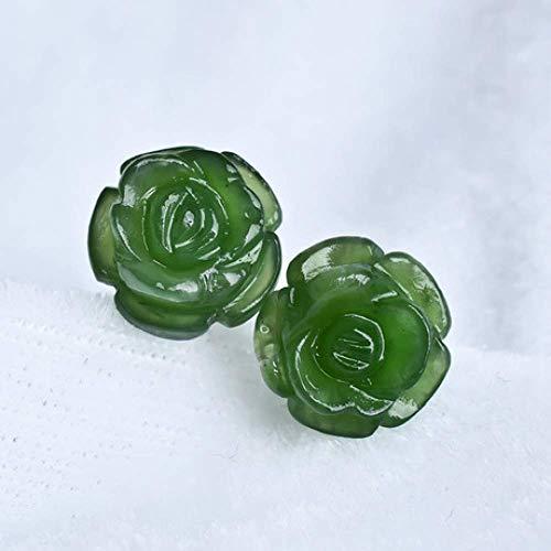 YEH S925 Plata Esterlina Verde Natural Jade Rosa Pendientes con Incrustaciones de Calcedonia Pendientes Ágata Damas Joyas Regalo, Arete, a