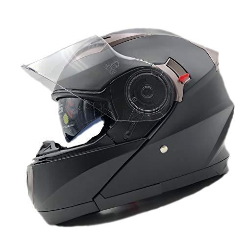 Nat Hut Casco Modulari Moto ECE Omologato | Caschi Modulari con Spazio per Bluetooth | Doppia Visiera Parasole (L, Nero)