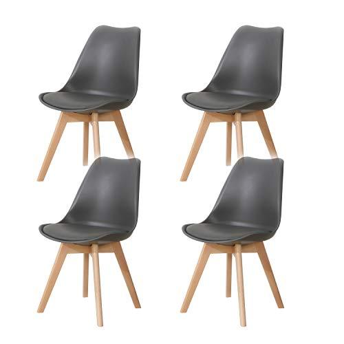 Lucky Factory Lot de 4 chaises de Salle à Manger scandinaves, Chaises de Salle à Manger Cuisine/Salon chaises,Design en Similicuir et Bois Massif(Gris)