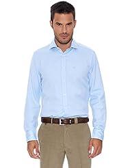 Pedro del Hierro Camisa Microestructura Azul 2XL