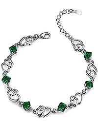 148581e85608 Scrox Nueva moda elegante elegante doble corazón cristal pulsera