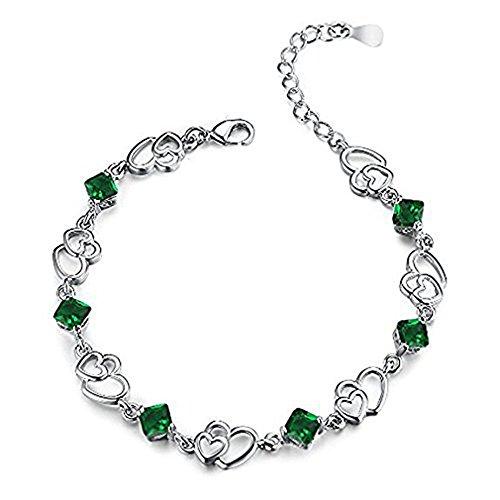 Scrox 1x Fashion Charm Armband Doppelherz Armbänder Kristall Armband Romantischer Schmuck Armschmuck Handkette für Kleidung Partydekorationen,Grün