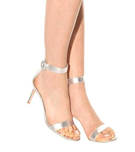 EDEFS Femme Chaussures Bout Ouvert Stiletto 8cm Talon Sandales à Bride de Cheville Argent