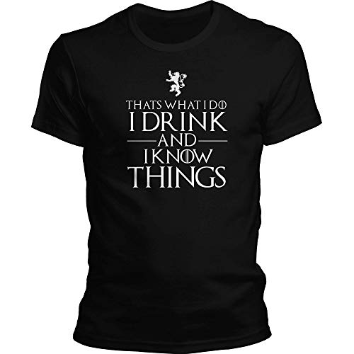 DragonHive Herren T-Shirt Thats What i do i Drink and i Know Things, Größe:M, Farbe:Schwarz - Tag Bio Herren T-shirt