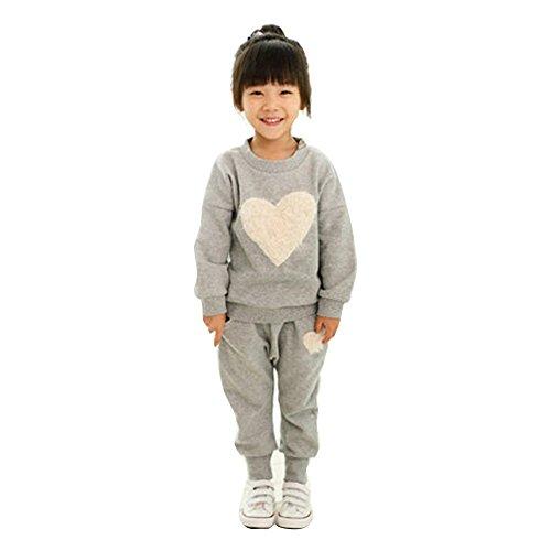 Koly bambini Abiti Manica lunga cuore Stampa tuta sportiva + Harem Imposta Outfits (100, Grigio)