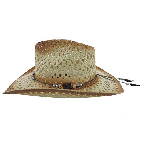 Silver Fever modischer Ombre gewebter paille chapeau de cowboy avec découpes et perles Rose