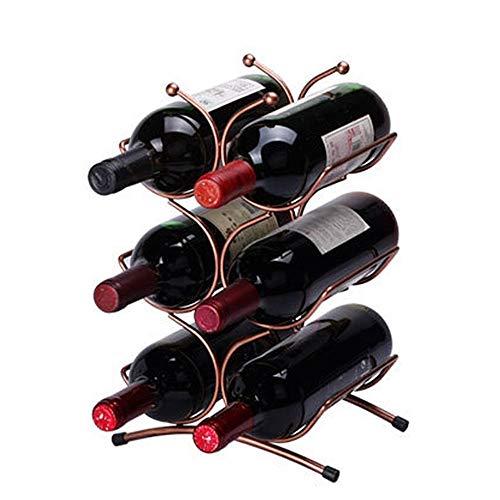 ReedG Weinregal-Verkaufsregal Einfacher barocker Weinlese-Design-Tischplatte-Wein-Flaschen-Stand-freistehender Metallwein-Lagerregal-Halter für 6 Wein-Flaschen-Entwurfs-Kupfer-Farbe