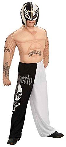 Rubie's Rey Mysterio Deluxe Kostüm - WWE Wrestler. Medium 5-7 Jahre (132cm Höhe) Hemd mit Muskel-Brust und Tattoo, Hose und Maske - Brust 6 Jahren