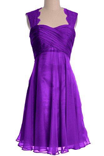 MACloth Women Lace Straps Chiffon Short Bridesmaid Dress Cocktail Formal Gown Violett