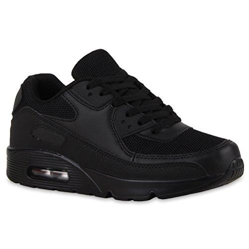 Unisex Sport Damen Herren Sneakers Lauf Neon Camouflage Glitzer Stoff Runners Trainers Leder-Optik Schuhe 111997 Schwarz 39 Flandell (Stoff Trainer)