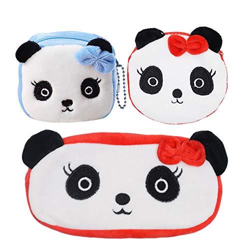 Schneiden Sie Tier geformte Federmäppchen, 3D-Stift-Tasche für Studenten, Junge Mädchen kreative Plüsch Geldbörse (Panda 3pc) -