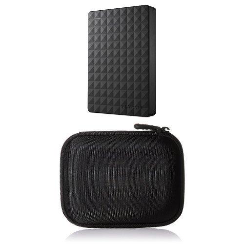 Seagate Expansion Portable, 4TB, externe tragbare Festplatte&#x3B; USB 3.0 und AmazonBasics Festplattentasche, schwarz