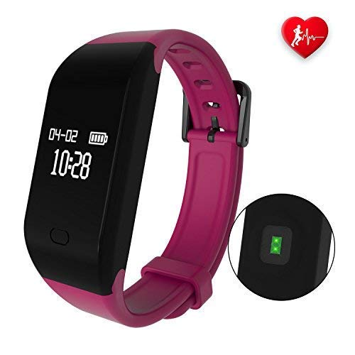 fitpolo Fitness Armband mit Pulsmesser,Wasserdicht IP67 Fitness Tracker,Aktivitätstracker Pulsuhren Schrittzähler Uhr Vibrationsalarm Anruf SMS Whatsapp Beachten für iPhone Android Handy