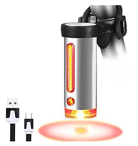 LED Fanale COB, 360 Gradi di Visibilità, 5 Modalità, Ricaricabile USB, Batteria Li-ion 1000mAh, Luce Rossa, Facile da montare
