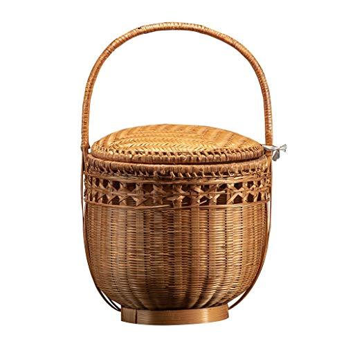 Küche Haushalt Wohnen Picknick Körbe Handgemachte Bambus Picknickkörbe mit Deckel tragbare...