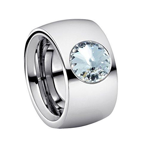 Heideman Ring Damen Coma 14 aus Edelstahl Silber farbend poliert Damenring für Frauen mit Swarovski Stein Kristall Weiss im Fantasie Edelsteinschliff 10mm