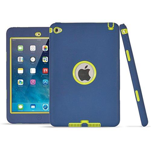 iPad Mini 4Fall, uzer (Heavy Duty stoßfest Anti-Rutsch Silikon High Impact Resistant Hybrid Drei Schicht Hard PC + Silikon Armor Schutzhülle für iPad Mini 4(Modell 2015), Navy+Green