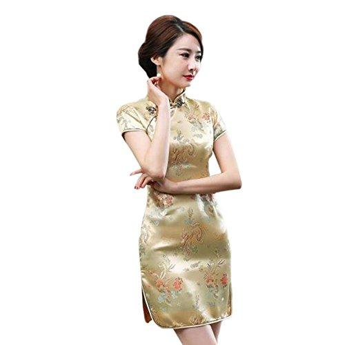 Meijunter Chinesisch Traditionell Frauen Retro Blumen gedruckt Kurzarm Cheongsam Brokat Qipao Abendkleid 04#