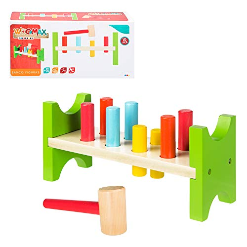WOOMAX- Banco figuras martillo madera Color Baby 40999