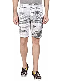 Hammock Men's Bridge Print Linen Shorts - White/Grey