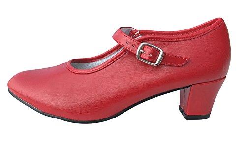 La Senorita Spanische Flamenco Schuhe - Rot für Kinder und Damen (Größe 38 - Innenmaß 24 cm)