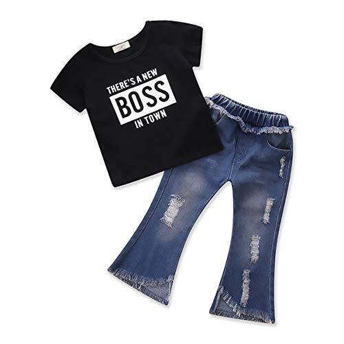 2pcs Kleinkind Baby Mädchen T-Shirt Tops + Jeans Hosen Bell-Bottoms Kleidung Outfits Set