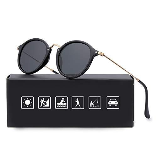 ELIVWR Retro Rund Sonnenbrille Polarisierte, 100% Schutz vor schädlichen UVA/UVB Strahlen (Schwarz+Schwarz)