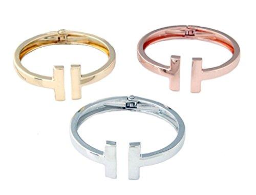 Geometrische Fashion Statement Armspange Armklammer Armreifen in Gold Silber oder Kupf Weissgold-Optik von DesiDo (Silber)