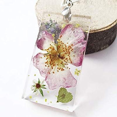 Pendentif Eden nature en fleurs, argent et résine forme rectangulaire - Bijou Collier de fleurs séchées