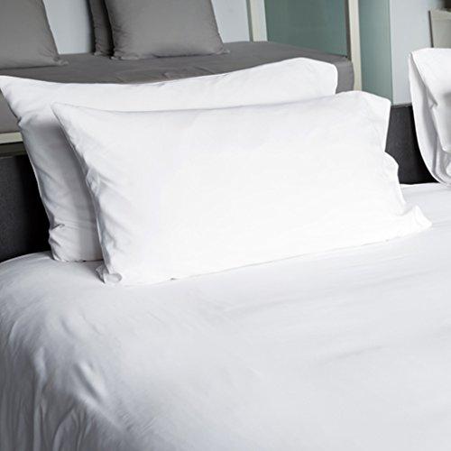 Lot de 10 | 20 | 40 Hôtel Taies d'oreiller – Gaine simple – 100% pièce thermocollante, 100 % coton, blanc, 50cm x 70cm (20\