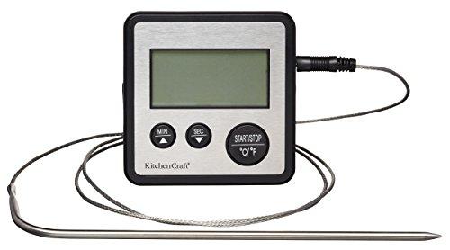 Kitchen Craft Digitales Kochthermometer und Küchentimer, Edelstahl, Silber, 2 x 8 x 8 cm