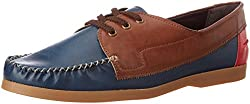 Knotty Derby Mens Quoddy Derby Blue and Tan Boat Shoes - 7 UK/India (41 EU)